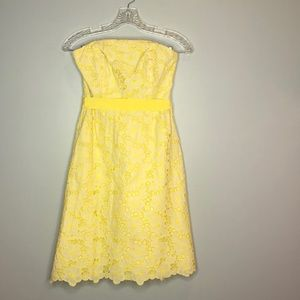 Lilly Pulitzer Yellow Lace, Strapless Dress, VTG